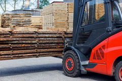 Operating Forklift Truck In Lumber Industry Stock Photos