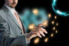 Operating futuristic virtual screen Stock Image