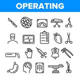 Operating Instruments Vector Thin Line Icons Set royalty free illustration