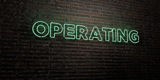 OPERATING -Realistic Neon Sign on Brick Wall background - 3D rendered royalty free stock image Stock Photos
