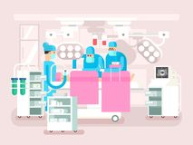 Operating room design. Operation surgery, medical and patient, hospital or clinic, vector illustration Royalty Free Stock Photo
