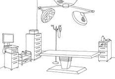 Operating room graphic black white interior sketch illustration. Vector Stock Photos