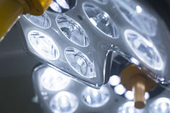 Operating room surgery light. Operating emergency room surgery theater lighting in hospital to enable surgeon to see well in operations stock photo
