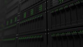 Operating server racks dolly shot. Seamless loopable 4K footage stock illustration