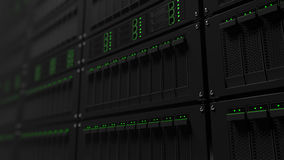 Operating server racks with green LED lights. CGI Royalty Free Stock Images