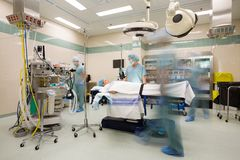 Operating Suite Preparation with Motion Blur Stock Photo