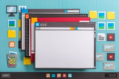 Multiple windows. Operating system computer interface and multiple application windows open on the desktop Stock Image