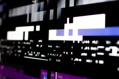 Operating system stalled after a memory overload. Presence of purple and white glitches on monitor and scattered code. System and graphics card lock Royalty Free Stock Photos