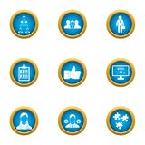 Operating time icons set, flat style. Operating time icons set. Flat set of 9 operating time vector icons for web isolated on white background Royalty Free Stock Photography