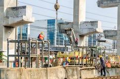 Operation of bridge construction Stock Photos