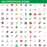 100 operation icons set, cartoon style Stock Photo