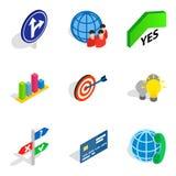 Operation icons set, isometric style. Operation icons set. Isometric set of 9 operation vector icons for web isolated on white background Stock Photography