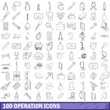 100 operation icons set, outline style. 100 operation icons set in outline style for any design vector illustration Stock Images