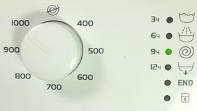 Operation indicators of the washing machine, erase and spin. stock video footage