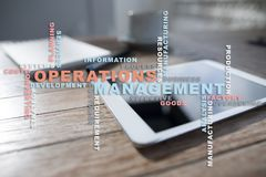 Operation management concept. Words cloud on virtual screen. stock photo