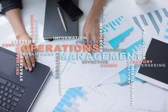 Operation management concept. Words cloud on virtual screen. Operation management concept. Words cloud on virtual screen royalty free stock photo