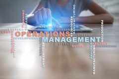 Operation management concept. Words cloud on virtual screen. Operation management concept. Words cloud on virtual screen royalty free stock images