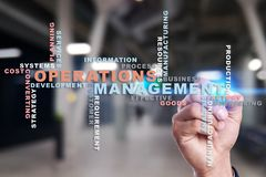 Operation management concept. Words cloud on virtual screen. Operation management concept. Words cloud on virtual screen stock images