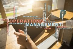 Operation management concept. Words cloud on virtual screen. Operation management concept. Words cloud on virtual screen royalty free stock image