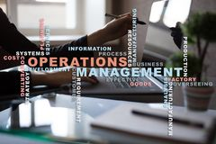 Operation management concept. Words cloud on virtual screen. stock images