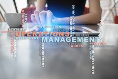 Operation management concept. Words cloud on virtual screen. Operation management concept. Words cloud on virtual screen stock image