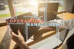 Operation management concept. Words cloud on virtual screen. Operation management concept. Words cloud on virtual screen stock photography