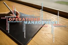 Operation management concept. Words cloud on virtual screen. stock photos