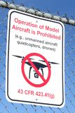 Operation of Model Aircraft Prohibited sign on chain link fence isolated on blue sky background royalty free stock photos
