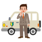 Operation novice businessman and car. Vector illustration.Original paintings and drawing Stock Photography