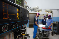Operation room with medical staff during surgery royalty free stock photo