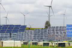 Operation of solar and wind. Use of green energy solar and wind Stock Photo