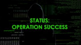 Operation success status, hacker stealing and transferring money from bank stock footage