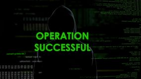 Operation successful message, hacker transfers money to offshore account stock footage