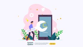 operation system update progress concept. data synchronize process and installation program. illustration web landing page stock illustration