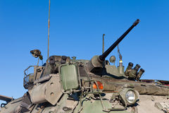 Operational military armored tank turret gun. Close up view of the turret, armaments and gun of an operational military armored tank vehicle Stock Photos