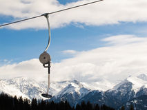 Operational ski lift. Ski lift for one person Royalty Free Stock Images