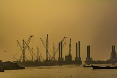 Sunrise View of an operational Port / Harbour stock photography