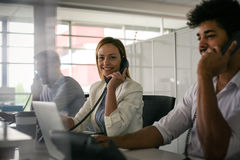 .Operations center  talking on Landline phone. Operator Stock Photography