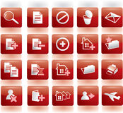 Operations with files  icons. Red icons for different operations with computer files like editing, copying, deleting, search Royalty Free Stock Photos