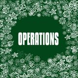 OPERATIONS on green banner with flowers. Illustration image concept Royalty Free Stock Photos