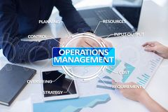 Operations management business and technology concept on virtual screen. Operations management business and technology concept on virtual screen Royalty Free Stock Photos