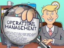 Operations-Management durch Linse Gekritzel-Konzept Stockbild