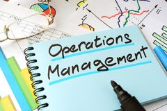 Operations Management written on a notepad. Operations Management written on a notepad sheet Royalty Free Stock Images