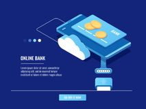 Operations with money online, mobile phone with credit card and coins, cloud storage, bank server. Isometric vector Stock Images
