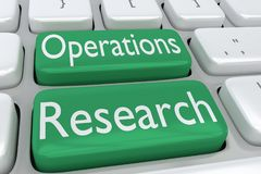 Operations Research concept. 3D illustration of computer keyboard with the script Operations Research on two adjacent green buttons Stock Photo