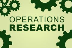 Operations Research concept. OPERATIONS RESEARCH sign concept illustration with green gear wheel figures on pale green background Royalty Free Stock Image