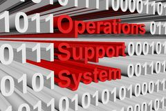 Operations support system. In a binary code with blurred background 3D illustration Royalty Free Stock Photos