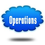 OPERATIONS text message on hovering blue cloud. Illustration Stock Images