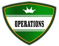 OPERATIONS written on green shield with crown. Illustration Stock Photos