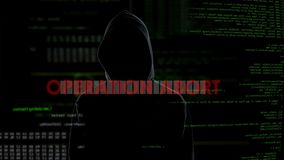 Operationsabbruch, erfolgloser Versuch, Computer mit trojan Virus anzustecken stock video